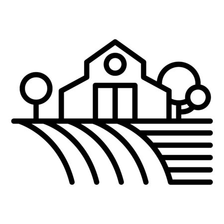 Farm building on field icon, outline style