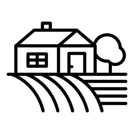 Farm house on field icon, outline style