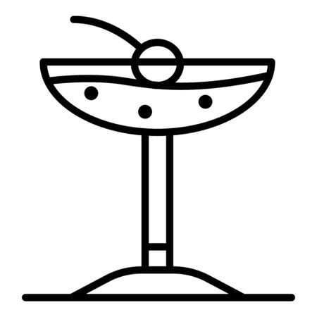 Beach cocktail icon, outline style Иллюстрация