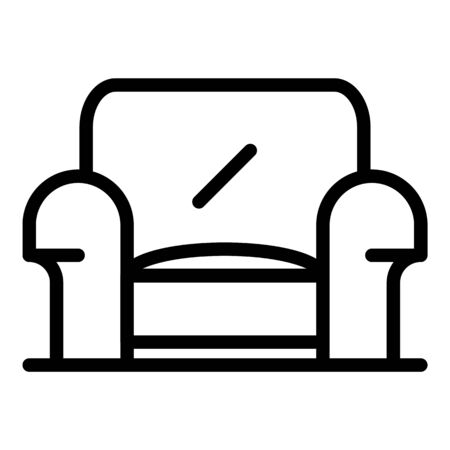 Home armchair icon. Outline home armchair vector icon for web design isolated on white background