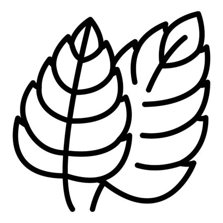 Tree leaves icon, outline style  イラスト・ベクター素材