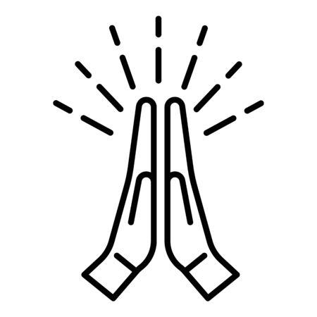 Icono de manos aplaudiendo. Esquema manos aplaudiendo icono vectoriales para diseño web aislado sobre fondo blanco.
