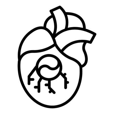 Heart valve implant icon, outline style