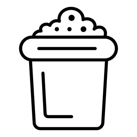 Pot with soil icon, outline style