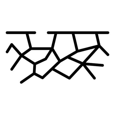 Icona del suolo incrinato. Delineare il suolo incrinato icona vettore per il web design isolato su sfondo bianco