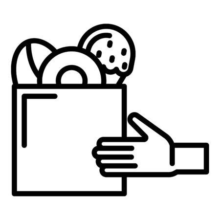 Icono de mano y comida rápida. Esquema de comida rápida y mano icono vectoriales para diseño web aislado sobre fondo blanco. Ilustración de vector