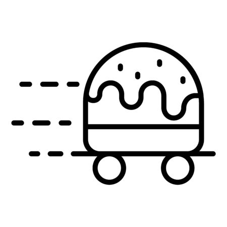 Wheeled hamburger icon, outline style Stock Vector - 128640315
