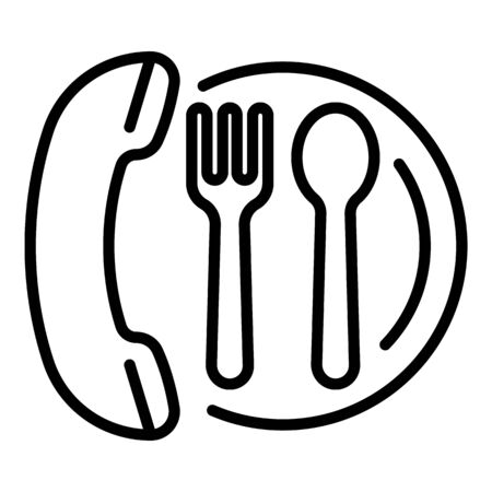 Order food by phone icon. Outline order food by phone vector icon for web design isolated on white background