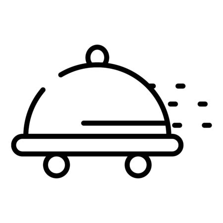 Wheeled tray icon, outline style