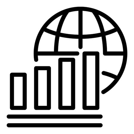 Globe and mobile network icon, outline style  イラスト・ベクター素材