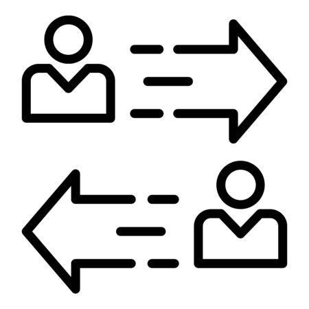 Pfeilsymbol von Person zu Person. Umrisse von Person zu Person Pfeilvektorsymbol für Webdesign isoliert auf weißem Hintergrund