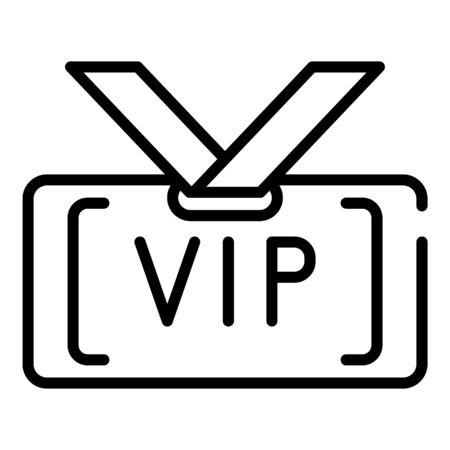 VIP-Abzeichen-Symbol. Umreißen Sie das VIP-Abzeichen-Vektorsymbol für das Webdesign, das auf weißem Hintergrund lokalisiert wird Vektorgrafik