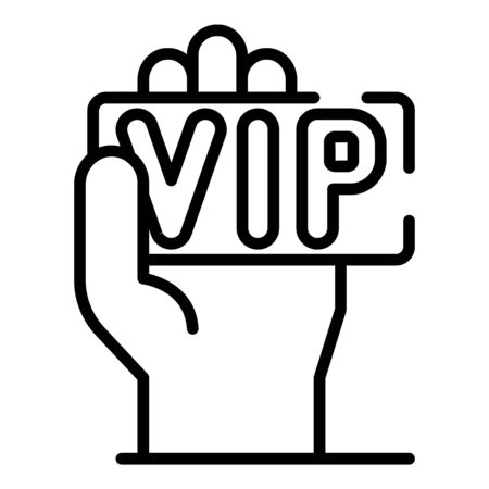 VIP card in hand icon, outline style