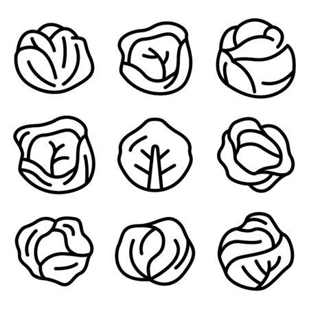 Conjunto de iconos de repollo, estilo de contorno