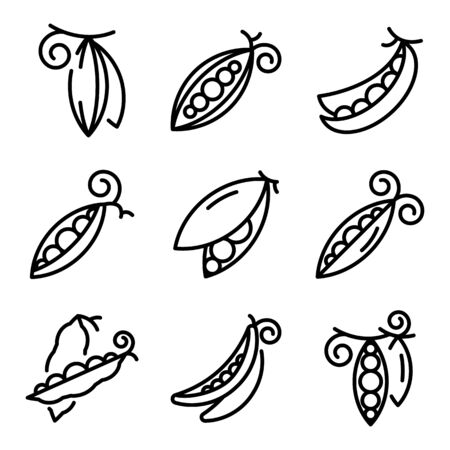 Peas icons set, outline style Vectores