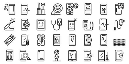 Mobile phone repair icons set, outline style Ilustração