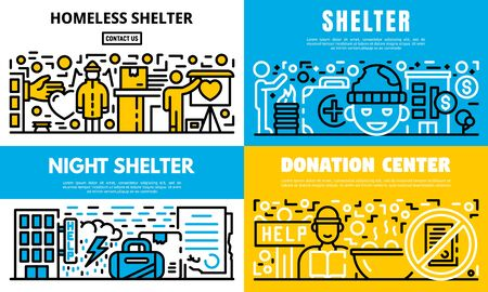 Charity banner set. Outline set of charity vector banner for web design