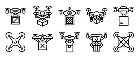 Drone delivery service icons set. Outline set of drone delivery service vector icons for web design isolated on white background