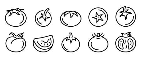 Set di icone di pomodoro. Delineare l'insieme delle icone vettoriali di pomodoro per il web design isolato su sfondo bianco Vettoriali
