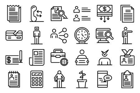 Unemployed icons set, outline style