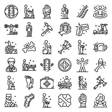 Zestaw ikon kręgarz, styl konturu