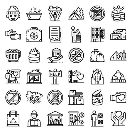 Homeless shelter icons set, outline style