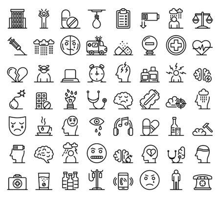Set di icone di depressione, stile contorno Vettoriali
