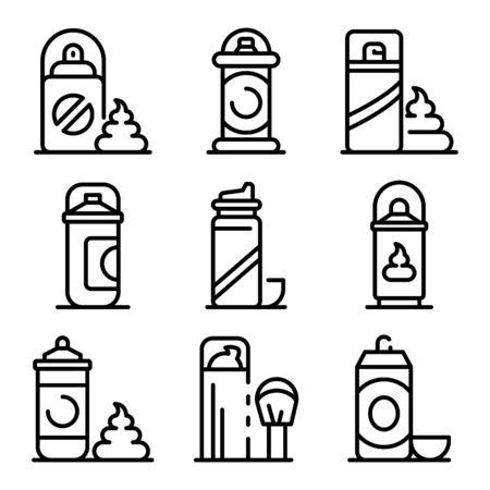 Shaving foam icons set. Outline set of shaving foam vector icons for web design isolated on white background