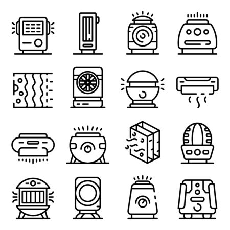 Air purifier icons set, outline style