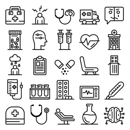 Mental hospital icons set, outline style