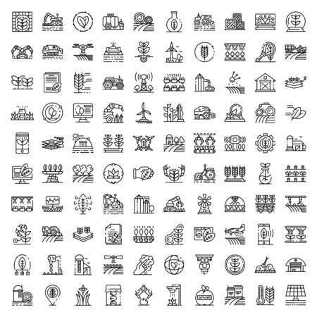 Farming robot icons set, outline style Illustration