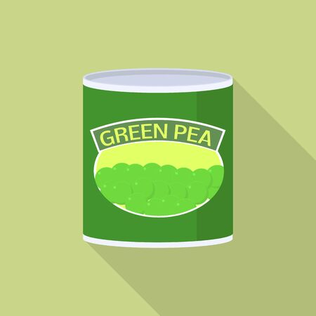 Green pea tin can icon, flat style Illustration