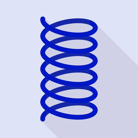 Blue spring coil icon. Flat illustration of blue spring coil vector icon for web design Ilustração
