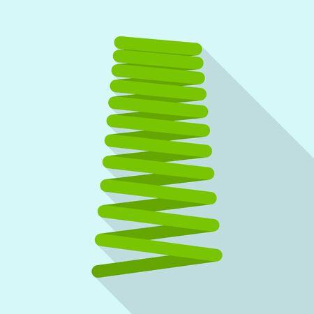Green spring icon, flat style Illustration