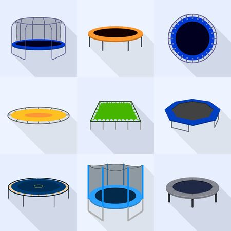 Trampoline icons set. Flat set of trampoline vector icons for web design