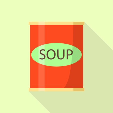 Red soup tin can icon. Flat illustration of red soup tin can vector icon for web design