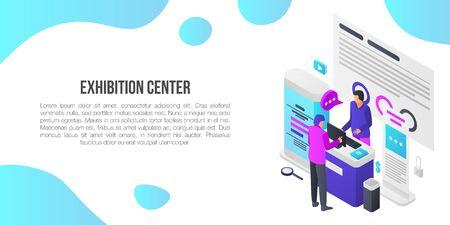 Exhibition center showroom concept banner. Isometric illustration of exhibition center showroom vector concept banner for web design Vector Illustration