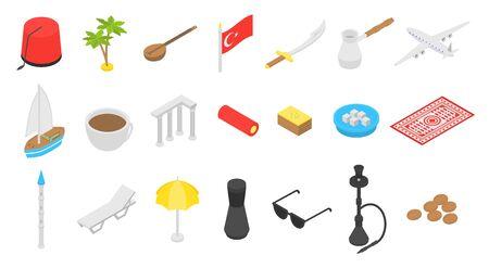 Turkey country icons set, isometric style Illustration