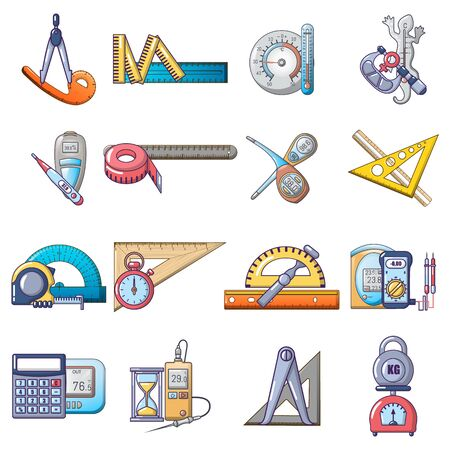 Measuring instrument icons set, cartoon style