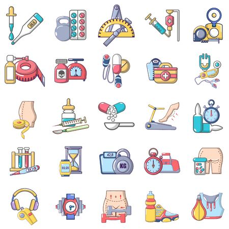 Physical examination icons set, cartoon style