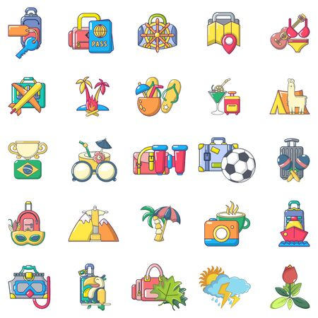 Brazil trip icons set, cartoon style