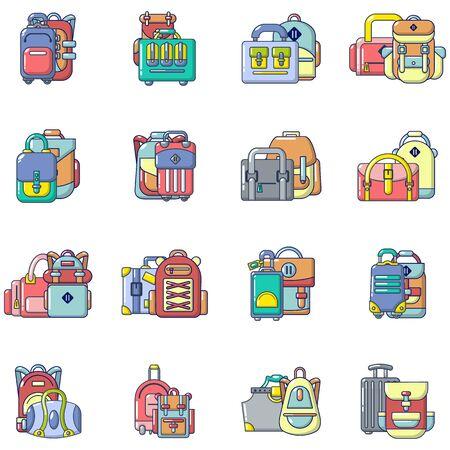 Travel bag icons set, cartoon style Иллюстрация