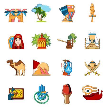 Arabic travel icons set, cartoon style