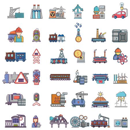 Energy transfer icons set, cartoon style Foto de archivo - 129338213