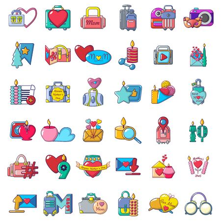 Lovely trip icons set. Cartoon set of 36 lovely trip vector icons for web isolated on white background Иллюстрация