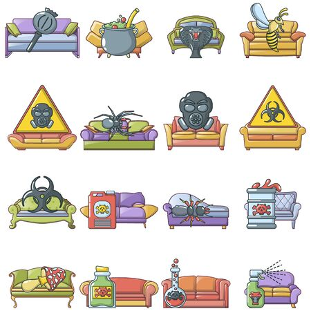 Disinfection icons set, cartoon style