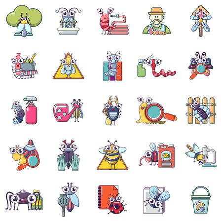 Insect cleaning icons set, cartoon style Stockfoto - 129338219