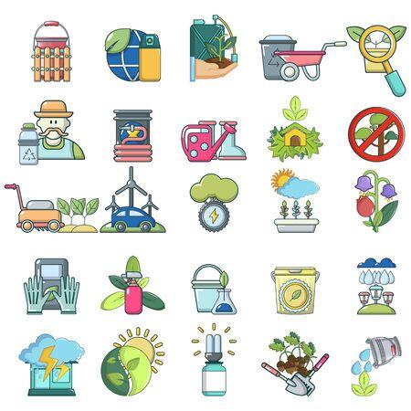 Rural agricultural icons set, cartoon style Ilustração