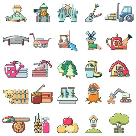 Country work icons set, cartoon style