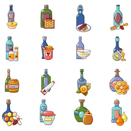 Mead icons set. Cartoon set of 16 mead vector icons for web isolated on white background